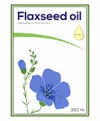 picture of flax seed oil  - Flaxseed oil label template featuring blooming flax plant and oil drop with words Omega 3 on it - JPG