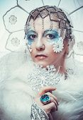 stock photo of snow queen  - Snow Queen over white background - JPG