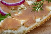 image of cod  - Sandwich with cod roe salad onion and dill - JPG