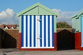 pic of beach hut  - Colourful beach hut on the promenade at Hove in Brighton East Sussex England - JPG