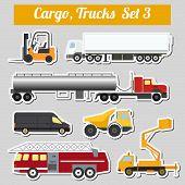 foto of lorries  - Set of elements cargo transportation - JPG
