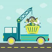 pic of food truck  - Garbage truck carrying bucket full of garbage on the road - JPG
