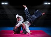 image of aikido  - Fight between two aikido fighters at sport hall - JPG