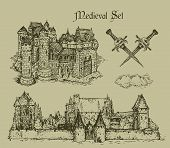 stock photo of crossed swords  - two medieval castle and crossed swords hand drawing - JPG