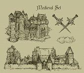foto of crossed swords  - two medieval castle and crossed swords hand drawing - JPG
