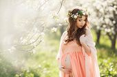 image of chemise  - Young beautiful pregnant woman - JPG