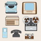 stock photo of tv sets  - Set of retro media gadgets - JPG