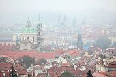picture of church  - Saint Nicholas Church in Mala Strana and the Tyn Church in Old Town Square viewed from Petrin Hill in Prague - JPG