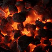 stock photo of briquette  - Glowing Hot Charcoal Briquettes Close - JPG