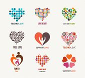 stock photo of non-profit  - Set of vector heart icons - JPG