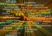 picture of homeless  - Background concept wordcloud multilanguage international many language illustration of homeless glowing light - JPG