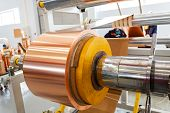 stock photo of transformer  - details of copper foil bending machine in high voltage transformer making plant - JPG