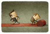 image of carpet  - illustration of a businessman walking on a Red carpet - JPG
