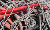 foto of dump  - electrical wires and other lengths of copper wire in the dump of special material - JPG