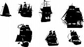 stock photo of pirate ship  - Collection of detailed vector boat and ship outlines - JPG