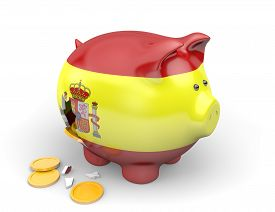 pic of spanish money  - Broken piggy bank painted with the Spanish flag - JPG
