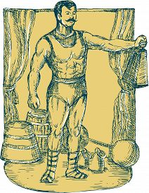 stock photo of strongman  - Drawing illustration of a strongman circus performer lifting weight on stage with curtain dumbbell barbell in the background - JPG