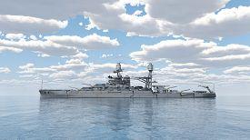 stock photo of battleship  - Computer generated 3D illustration with an American battleship of World War 2 - JPG
