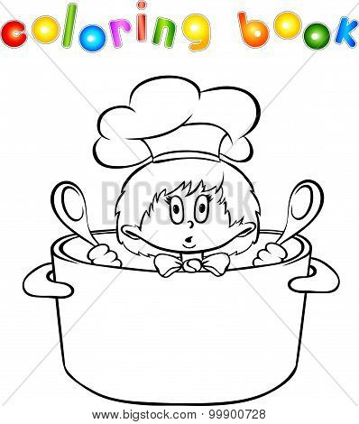 Funny Surprised Kitchen Boy Coloring Book