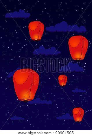 Pingsi Lantern At Night