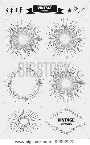 Set of Vintage monochrome Sun Burst, Starburst. Vector vintage design elements