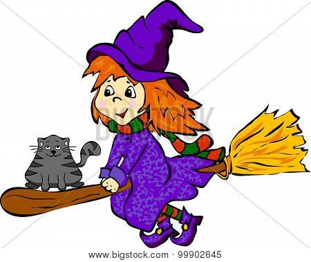 Witch With Cat Flying On A Broomstick