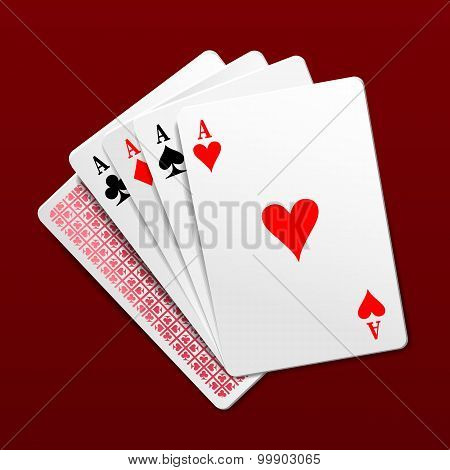 Four Aces Playing Cards. Photorealistic Vector Illustration