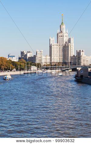 Moskva River And Skyscraper In Moscow