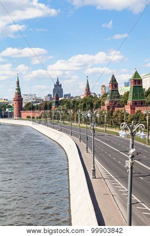 The Kremlin Embankment Of Moskva River Moscow City