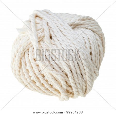 White Hank Of Cotton Rope Isolated