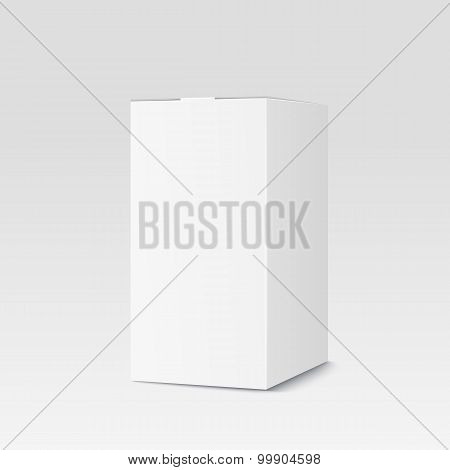 Realistic Cardboard Box On White Background. White Container, Packaging. Vector Illustration