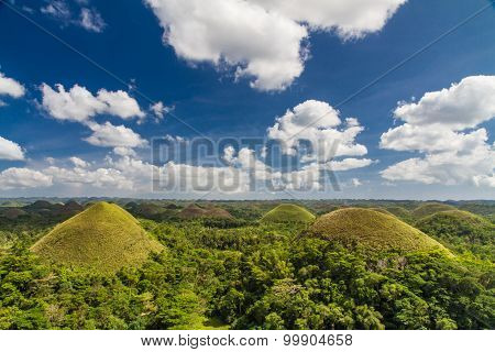 Chocolate Hills With Clouds And Sky,philippines