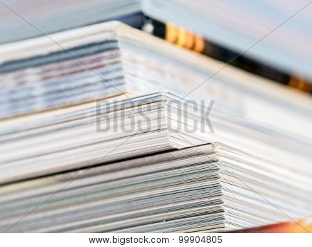 Cloeup of pile of books