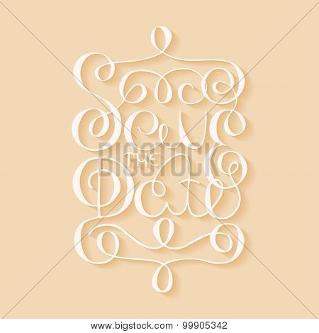 Card With Handdrawn Typography Design Element On Beige Background With Shadows