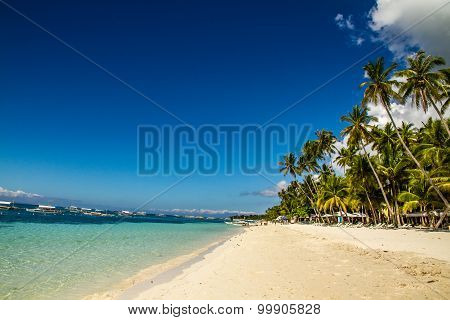 Tranquil Alona Beach With Blue Sky, Philippines