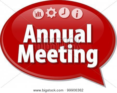Speech bubble dialog illustration of business term saying Annual Meeting