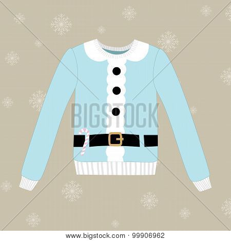 Christmas Sweater On Vector Background With Snowflakes