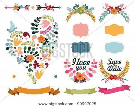 Set of cute decorative elements
