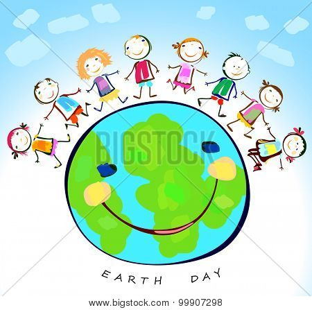 happy kids playing around the earth planet