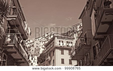 Italy. Cinque Terre. Manarola. In Sepia Toned. Retro Style