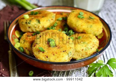Homemade Potato Patties With Herbs And Green Onion.