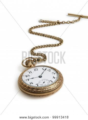 Vintage Gold Watch With Chain Lying On White Background