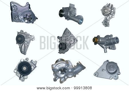 Automotive Water pump on white background