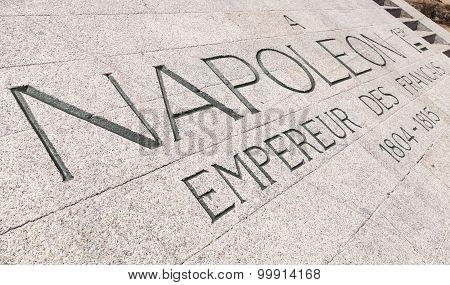 Napoleon Bonaparte Memorial With Text In Stone