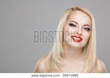 Fashion Stylish Beauty Portrait Of Smiling Beautiful Blonde Girl With Professional Make-up, False Ey