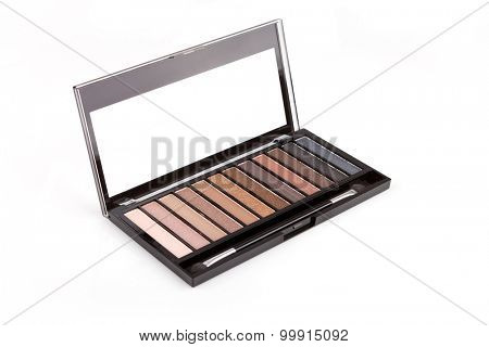 Colorful eyeshadow palette, isolated on white