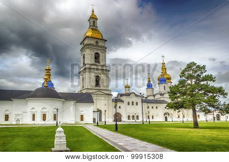 Tobolsk Kremlin Courtyard Sophia-assumption Cathedral Panorama Menacing Sky