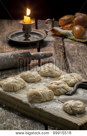 baking biscuits on a rustic table
