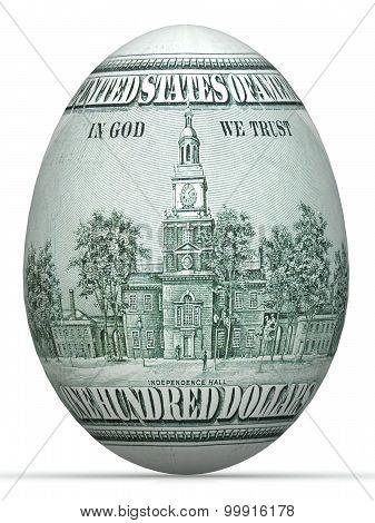 dollar back side banknote in shape of egg.