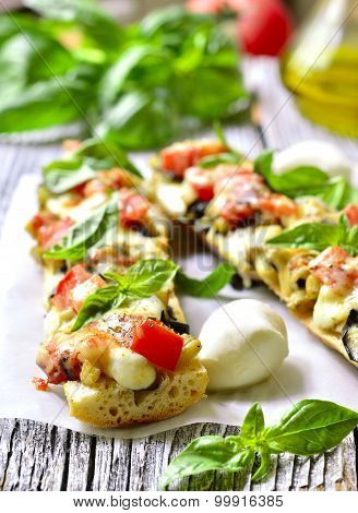 Pizza With Eggplants On A French Baguette.